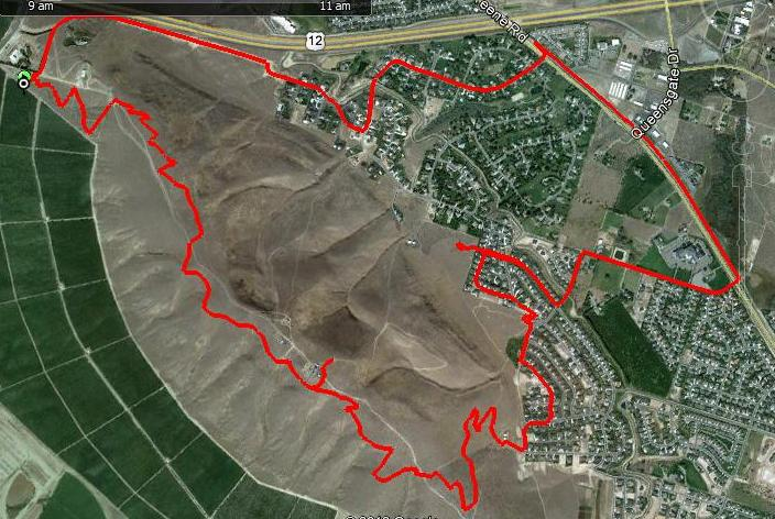 GPS Tracing of Ride on Google Earth Image