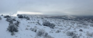 Badger Mountain Snowy Panorama View to the West