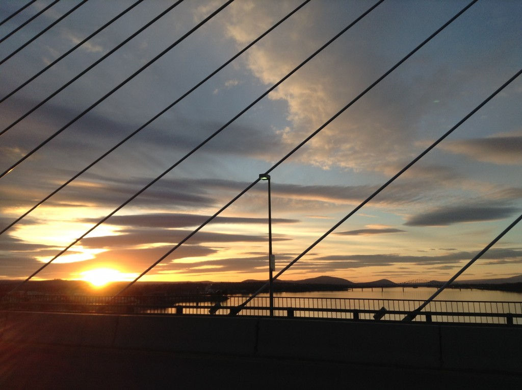 Crossing the Cable Bridge at Sunset from Pasco to Kennewick across the Columbia River