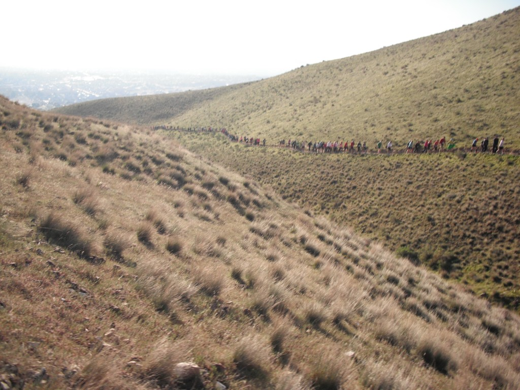 Long Line of Racers on Canyon Trail