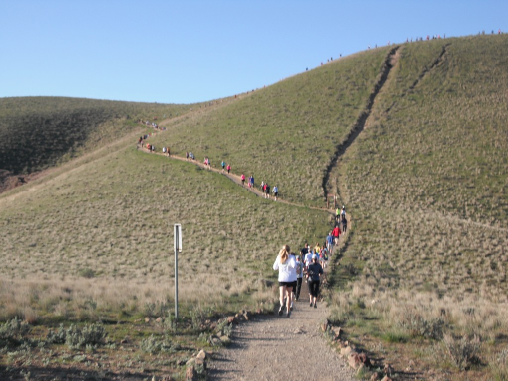 """Heading up the Switchbacks to the top of Badger Mountain on the Canyon Trail.  I call this location the """"bench"""" (click pic to enlarge)"""