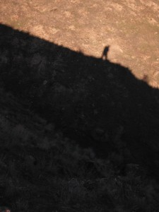 Shadow of me hiking on Badger Mountain