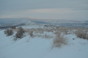 Sun Peaking out on a Snowy Rattlesnake Mountain