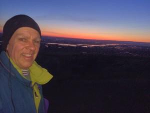 Top of Badger Mountain, pre-sunrise, beautiful views.