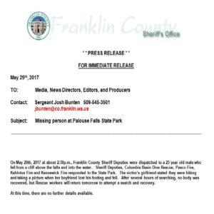 Palouse Falls Press Release