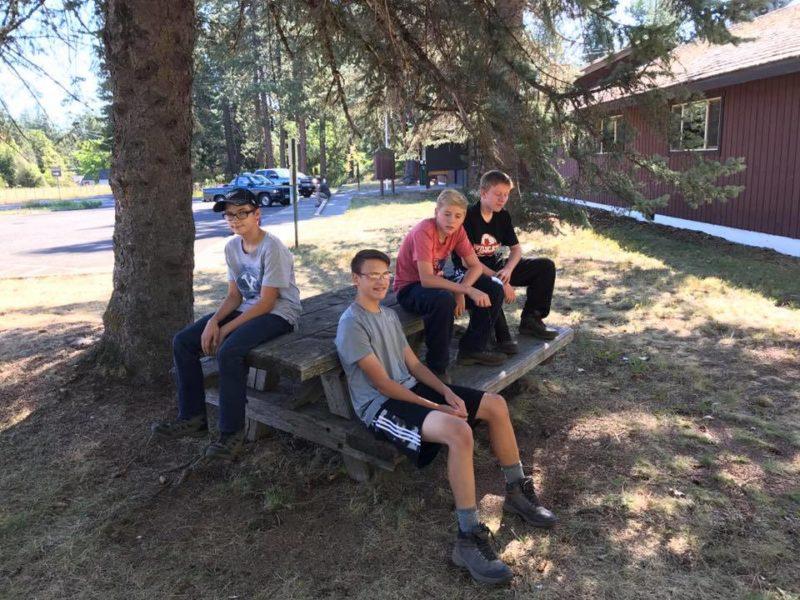 Alden, Josh, Daniel and Everett at ranger station