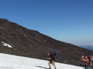 Billy and Steve climbing up Mt. Adams