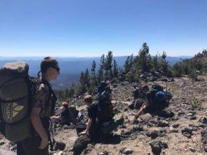 Chris, Taylor, Daniel on break during climb of Morrison Creek drainage on Mt. Adams