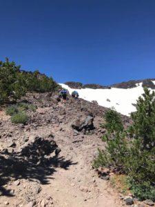 Climbing Morrison Creek drainage on Mt. Adams