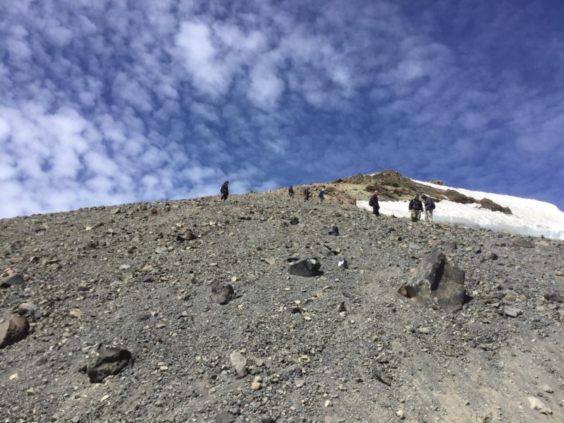 Coming down from the summit on loose gravel on Mt. Adams