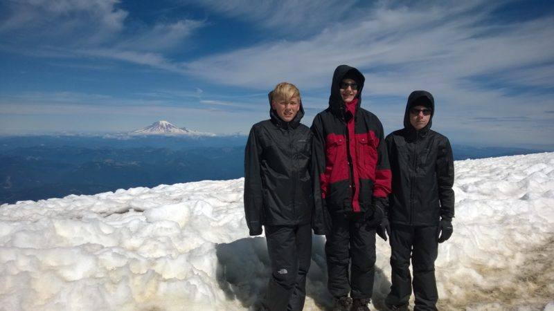 Everett, Josh, and Daniel on top of Mt. Adams