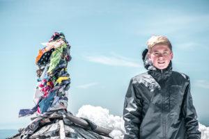 Everett on the summit of Mount Adams