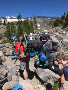 Group at Morrison Creek crossing on Mt. Adams