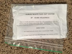 Human Waste Pack-out System bag