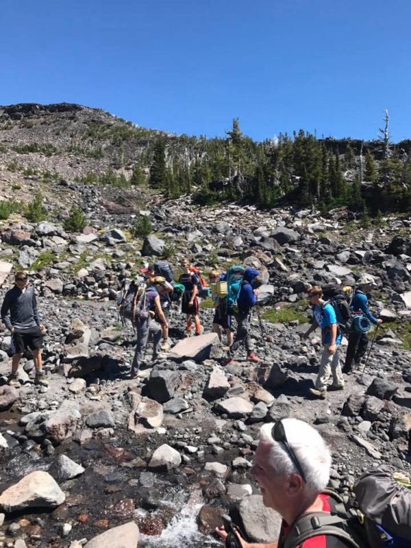 Josh, Carter, Michael, Justin, Paul and more at the Morrison Creek crossing on Mt. Adams