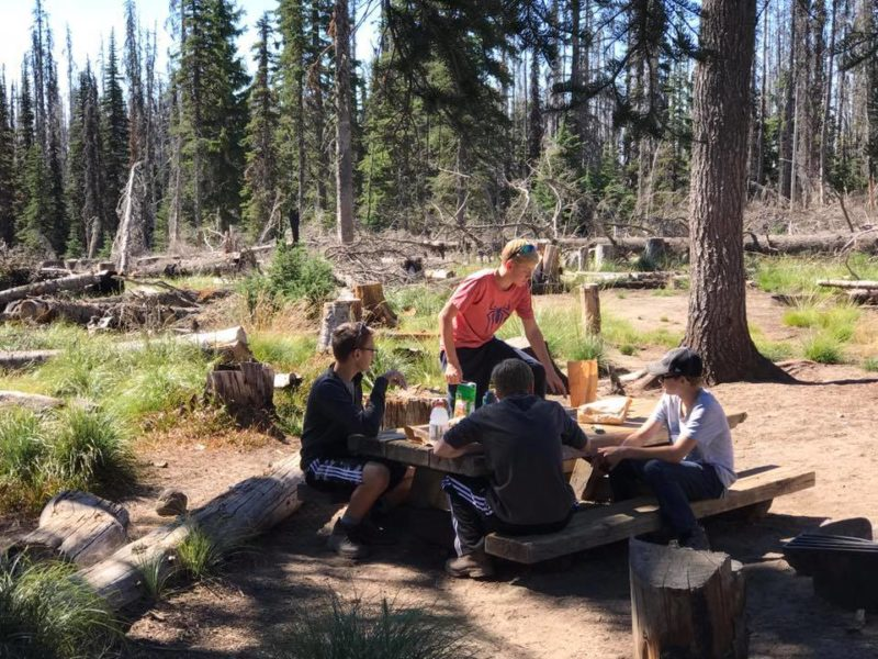 Josh, Everett, Daniel, Alden at Cold Springs Campground before the hike