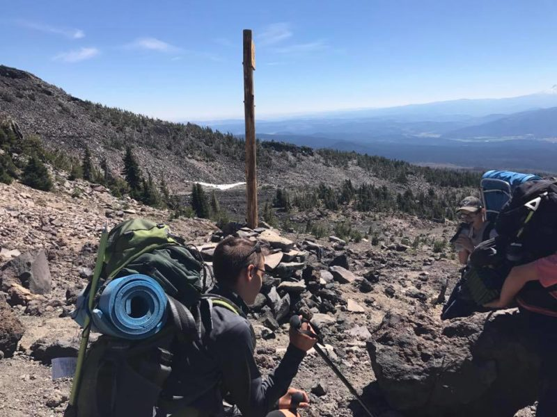 Josh and Alden on break during climb of Morrison Creek drainage on Mt. Adams