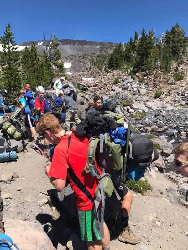 Layton, Josh, Michael and others at Morrison Creek crossing on Mt. Adams