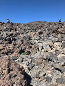 Scaling rocks on the Morrison Creek drainage on Mt. Adams
