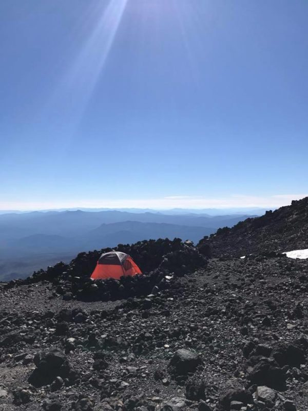 Tent at Lunch counter in rock ring at ~9200 feet on Mt. Adams