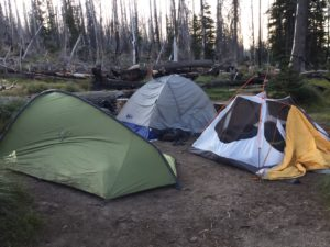 Tents at Cold Springs Campground at Mt. Adams