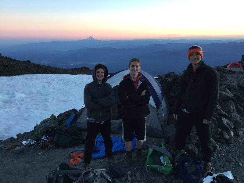 Travis, Andrew, Layton at Lunch Counter on Mt. Adams with Mt. Hood in background