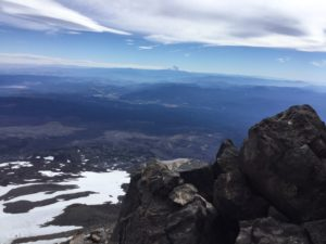 View of Mt. Hood from Piker's Peak with Lunch Counter below left