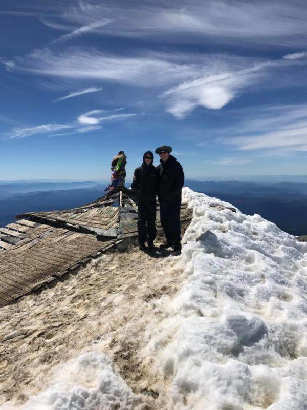 Waylon and Michael at shack on top of Mt. Adams