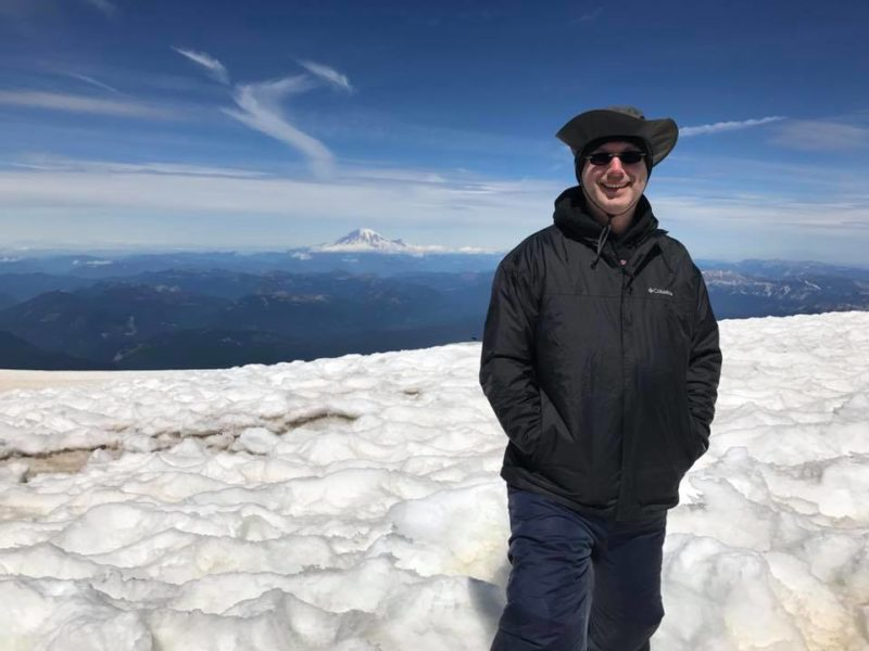 Waylon on top with Mt. Rainier